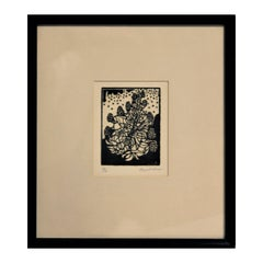 Abstract Black and White Floral Still Life Lithograph Print