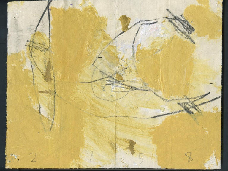 An energetic, richly hued abstract work on paper by the artist M.P. Landis. The artist's abstract paintings and works on paper are the type that take form through the artist's layering of materials. This drawing is from the artist's series