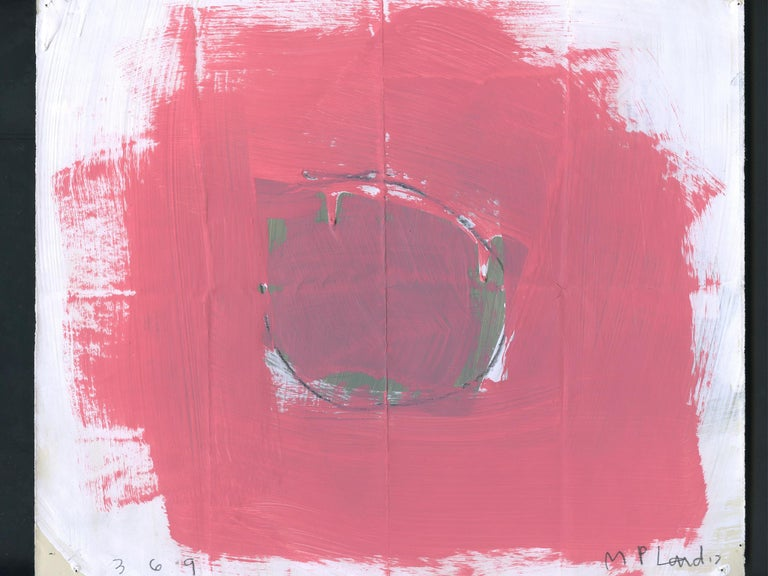 A richly-hued abstract work on paper by the artist M.P. Landis. The artist's abstract paintings and works on paper are the type that take form through the artist's layering of materials over time. This drawing is from the artist's series mixed-media