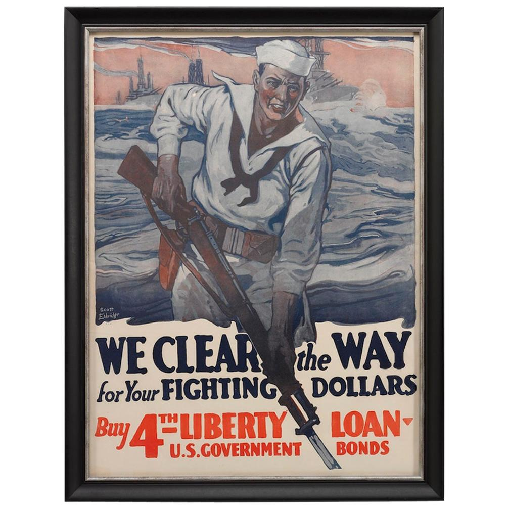 """U.S. Navy WWI Poster """"We Clear the Way for Your Fighting Dollars,"""" 1918"""