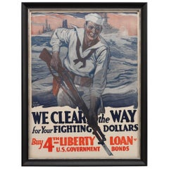 """We Clear the Way for Your Fighting Dollars"" Vintage WWI Poster, 1918"