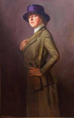 """Ashcan School Painting """"Lady in a Violet Hat"""" by W.E. Prather Dated 1918"""