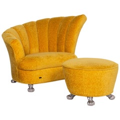 We Present to You a Bretz Fabric Armchair Set Yellow 1 Armchair 1 Stool