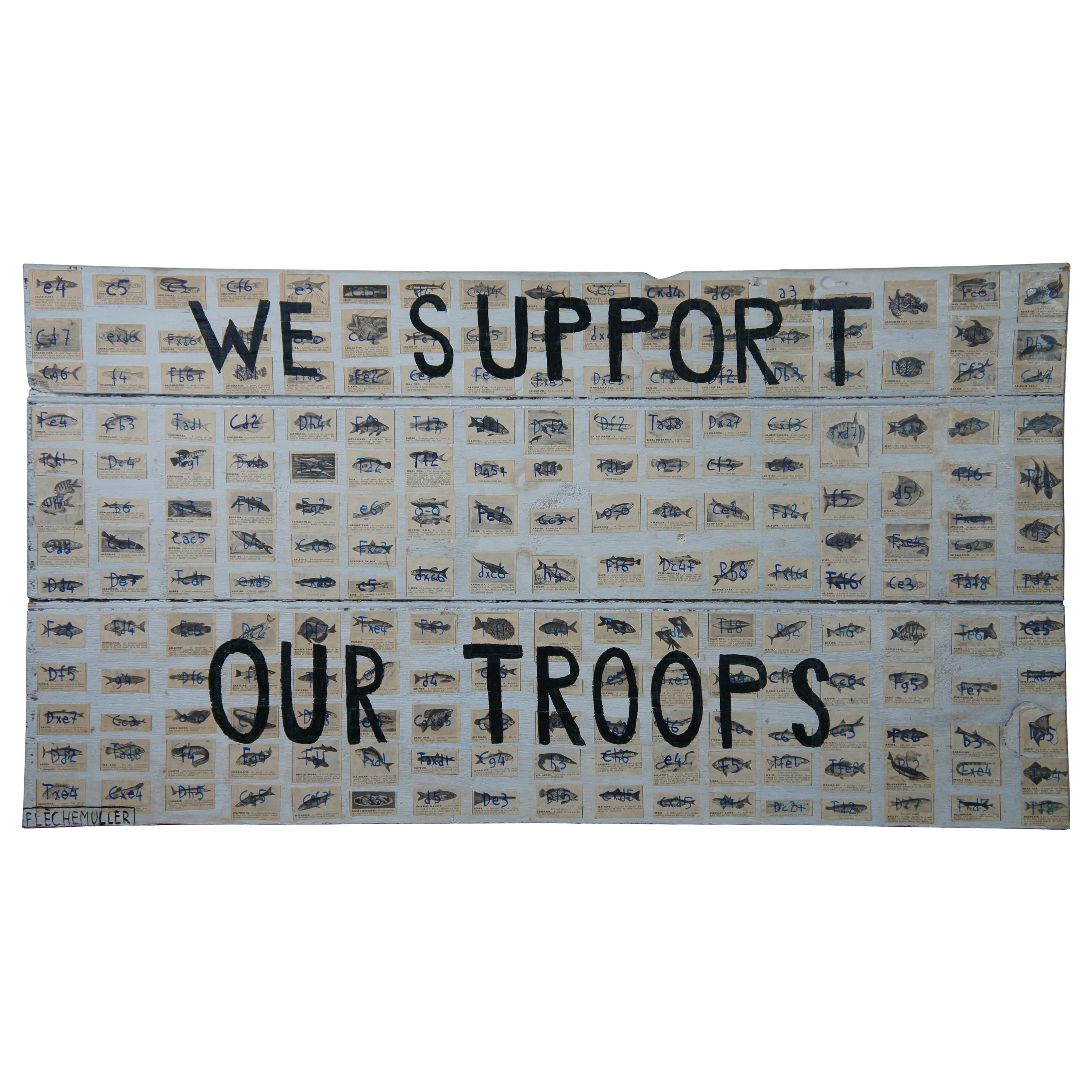 We Support Our Troops Original Decoupage by Jacques Flèchemuller Mixed-Media