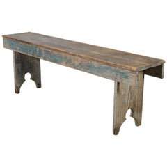 Weathered American Country Bench With Original Paint