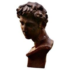 Weathered Cast Iron Statue of Michelangelo's David
