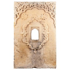 Weathered Hand Carved Sandstone Window, 20th Century