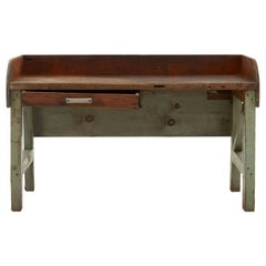 Weathered Industrial Green Painted Wooden Work Table