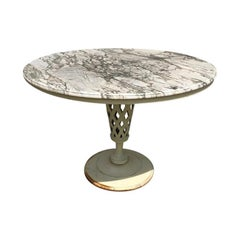 Weathered Marble-Top Iron Patio Table