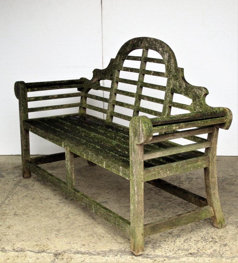 Weathered Teak Lutyens Style Garden Bench Encrusted with Algae Lichen For Sale 5