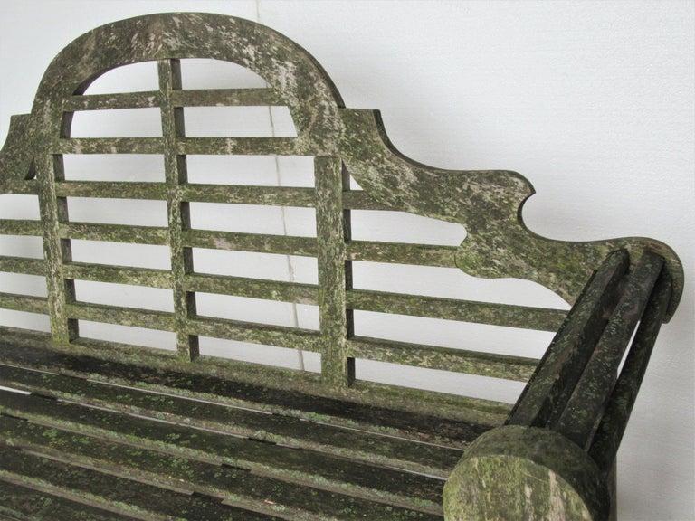 Weathered Teak Lutyens Style Garden Bench Encrusted with Algae Lichen For Sale 6