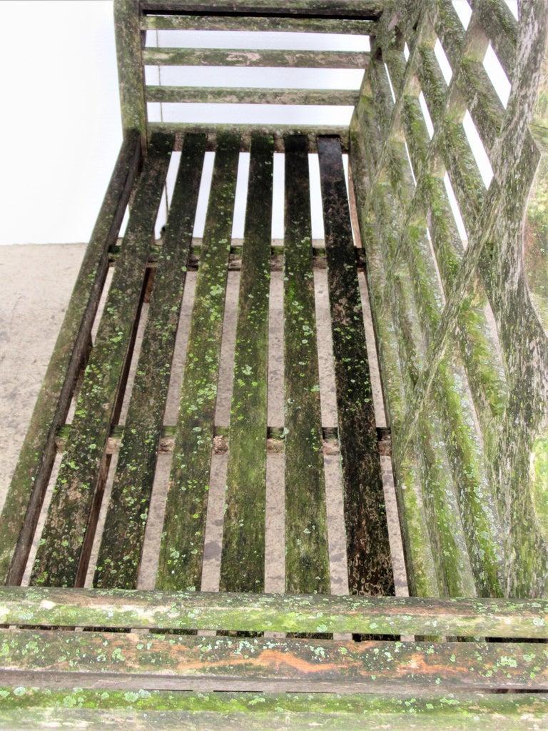 Weathered Teak Lutyens Style Garden Bench Encrusted with Algae Lichen For Sale 9