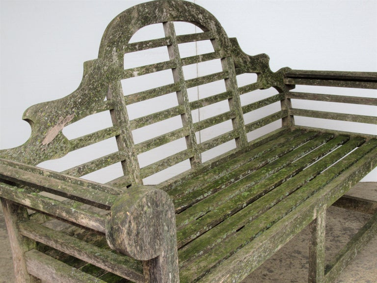Weathered Teak Lutyens Style Garden Bench Encrusted with Algae Lichen For Sale 10