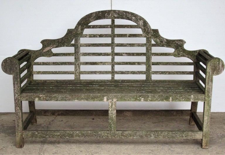 Weathered Teak Lutyens Style Garden Bench Encrusted with Algae Lichen For Sale 14