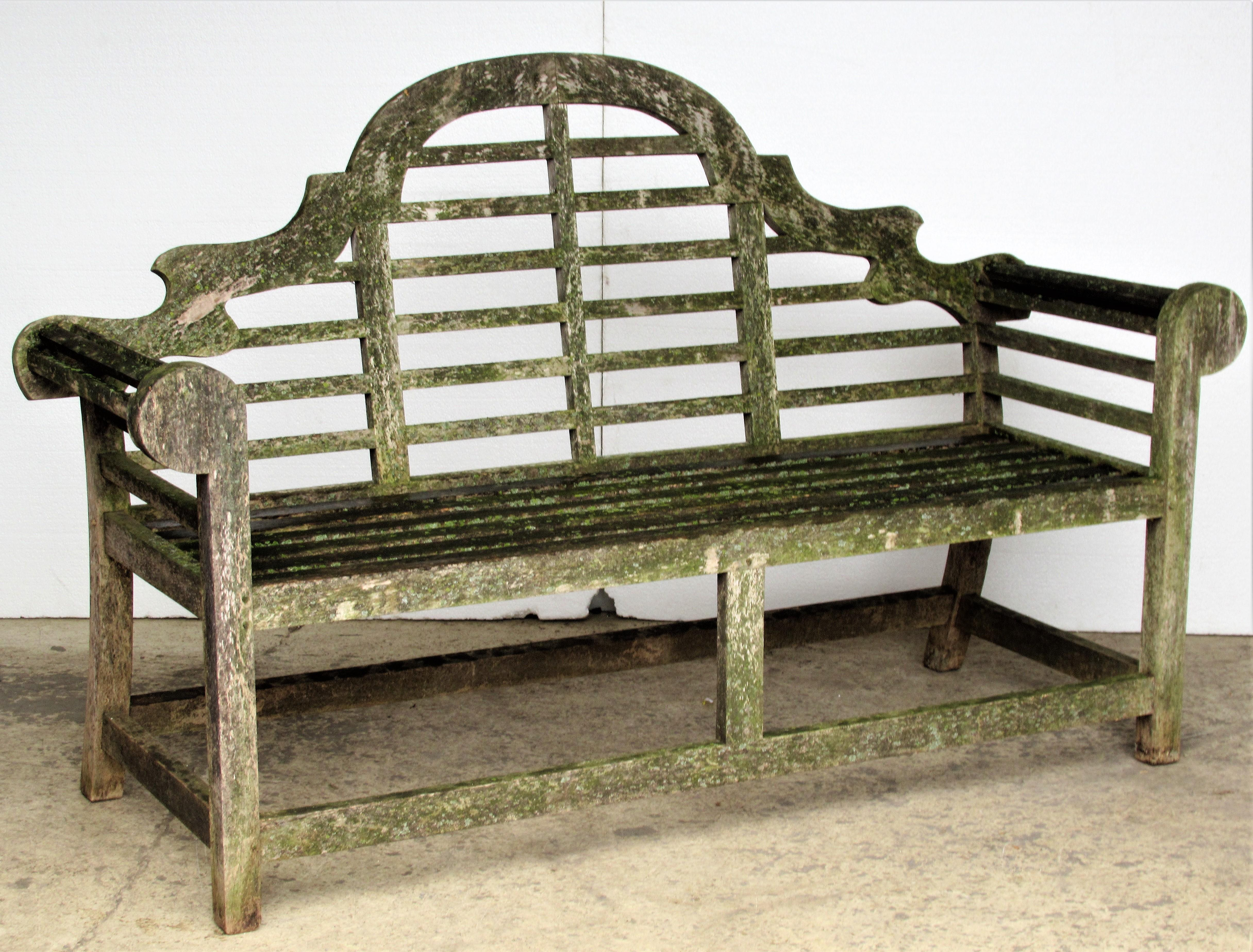 Weathered Teak Lutyens Style Garden Bench Encrusted With Algae Lichen