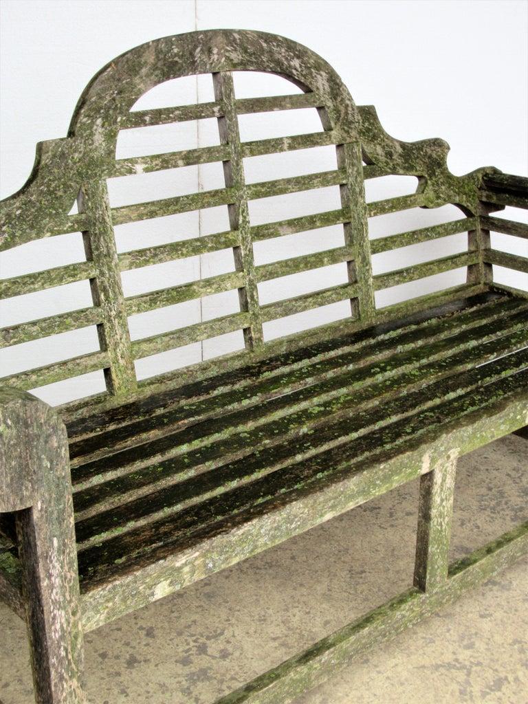 Weathered Teak Lutyens Style Garden Bench Encrusted With