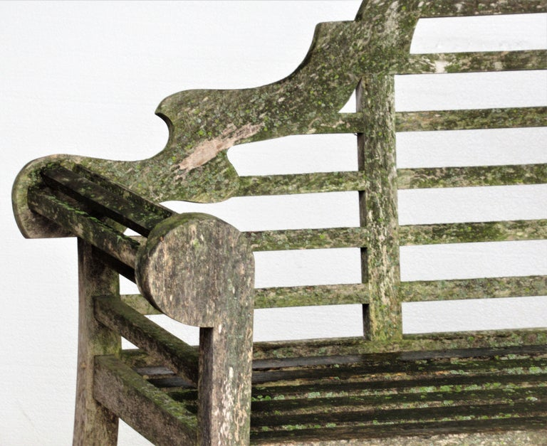 20th Century Weathered Teak Lutyens Style Garden Bench Encrusted with Algae Lichen For Sale