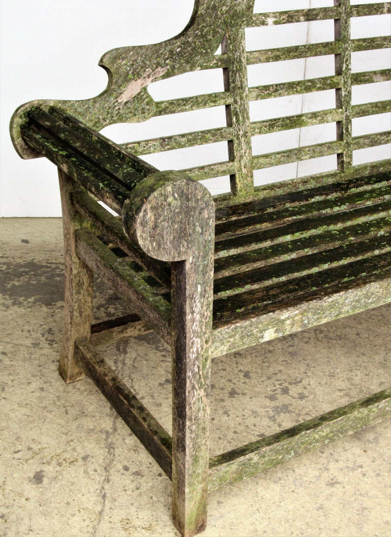 Weathered Teak Lutyens Style Garden Bench Encrusted with Algae Lichen For Sale 1