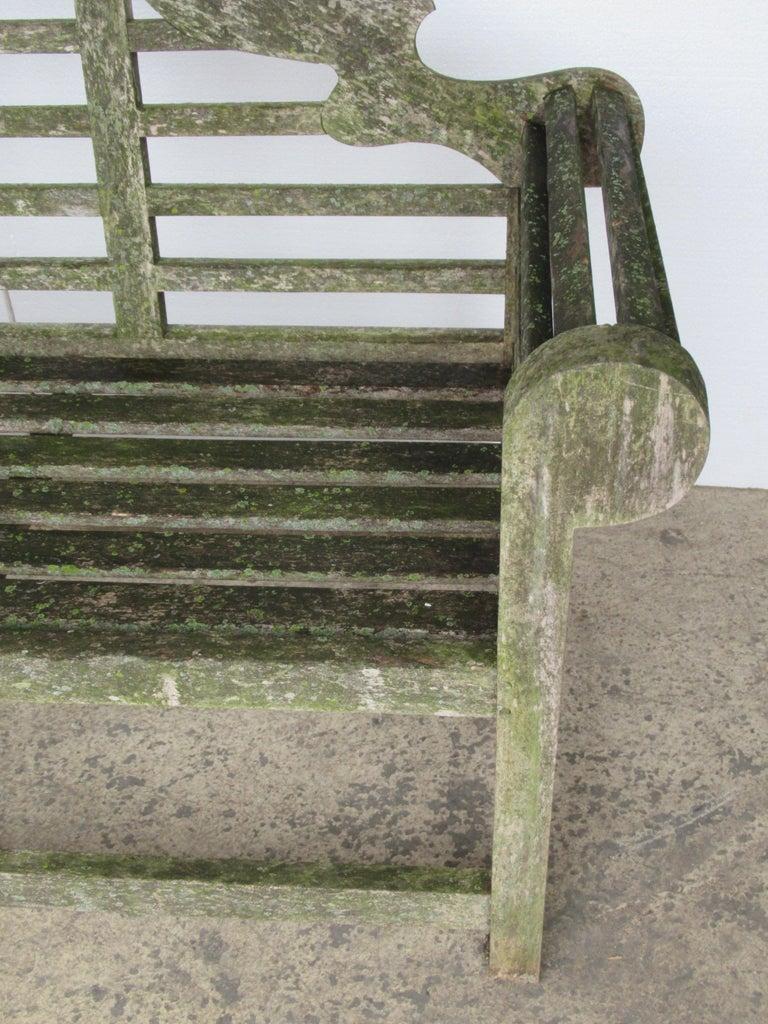 Weathered Teak Lutyens Style Garden Bench Encrusted with Algae Lichen For Sale 3