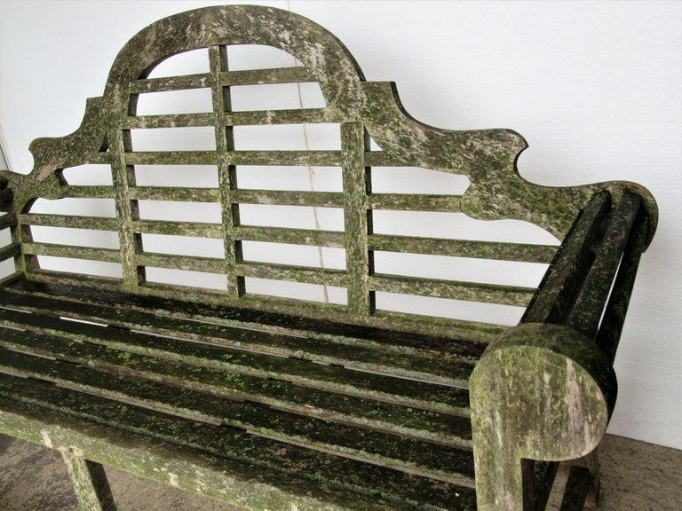Weathered Teak Lutyens Style Garden Bench Encrusted with Algae Lichen For Sale 4