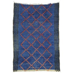 Weathered Vintage Berber Blue Moroccan Rug with Tribal Artisan Style
