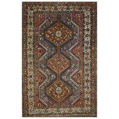 Weathered Vintage Persian Shiraz Tribal Rug, Nomadic Style Accent Rug