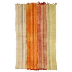 Weathered Vintage Turkish Kilim Rug with Modern Rustic Style