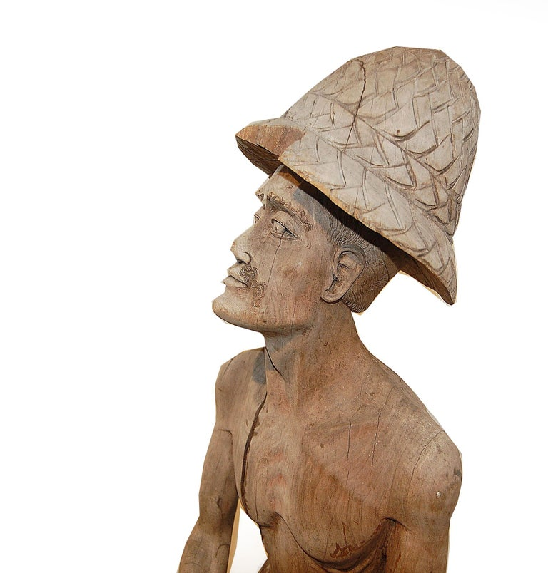 Asian Weathered Wood Fisherman Sculpture For Sale