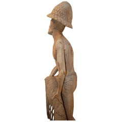 Weathered Wood Fisherman Sculpture