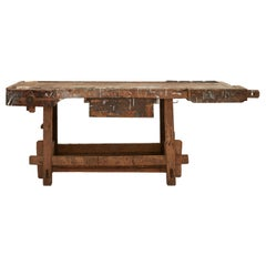 Weathered Wood Industrial Work Table
