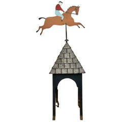 Weathervane Horse with Jockey on Pointed Roof, Mid-20th Century, Europe