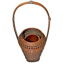 Weaved Bamboo Ikebana Flower Arrangement Basket by Morita Chikuyosai