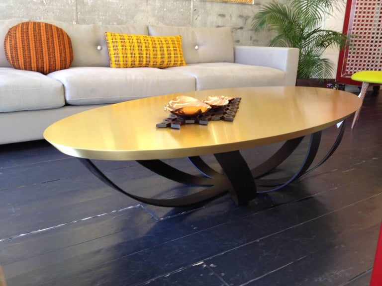 Modern Web Coffee Table with Metal Base and Top in Brass, Contemporary Coffee Table For Sale