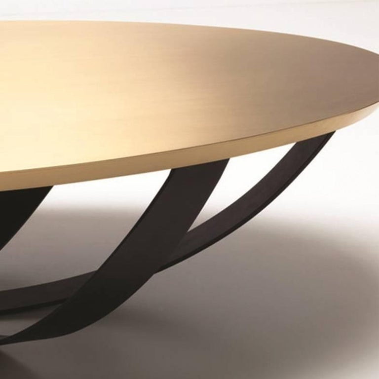 Lebanese Web Coffee Table with Metal Base and Top in Brass, Contemporary Coffee Table For Sale