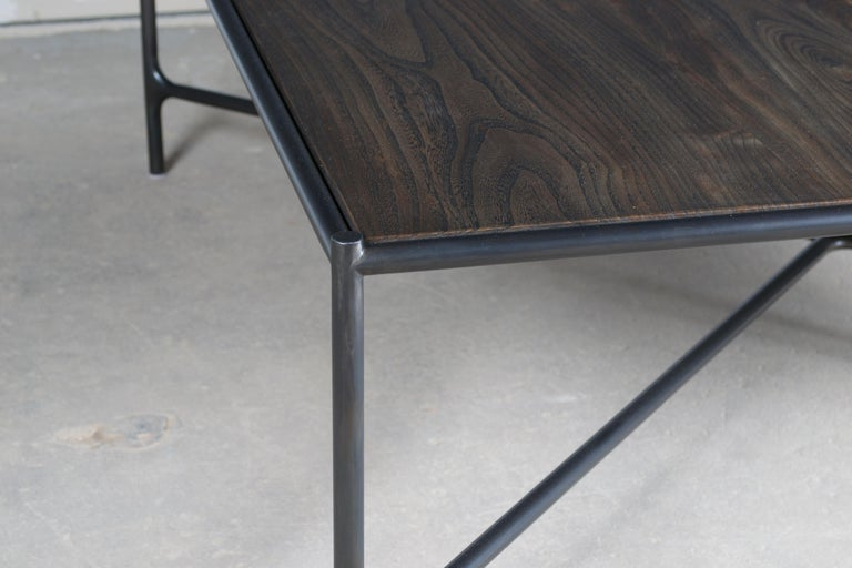 Web Series Cast Bronze, Saddle Leather and Wood Bench by Modern Industry Design In New Condition For Sale In Chicago, IL