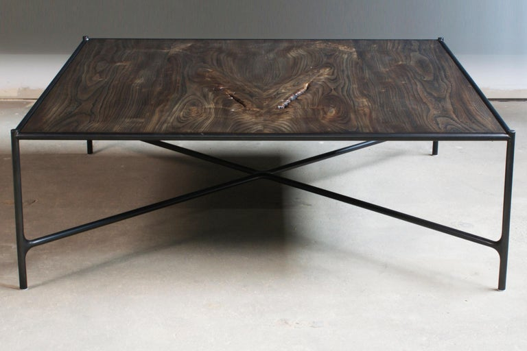 Contemporary Web Series Cast Bronze, Saddle Leather and Wood Bench by Modern Industry Design For Sale
