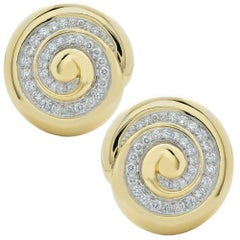 Webb Diamond Spiral Clip Earrings 18 Karat Yellow Gold Platinum