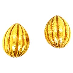 Webb Hammered 18 Karat Yellow Gold Ribbed Clip Earrings