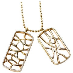 18K Gold Web Dog Tag Necklace