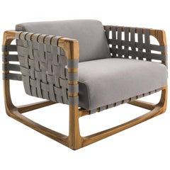 Webbing Outdoor Armchair in Solid Teak with Outdoor Fabric