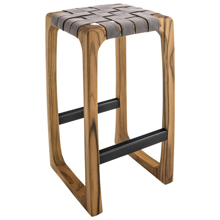 Admirable Webbing Outdoor Bar Stool In Solid Teak With Outdoor Fabric Bralicious Painted Fabric Chair Ideas Braliciousco