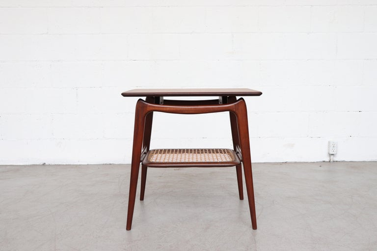Mid-Century Modern WéBé 'Ella' Teak Side or Coffee Table with Rattan Magazine Shelf For Sale