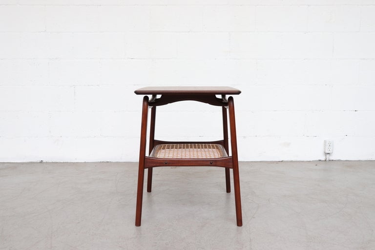 Dutch WéBé 'Ella' Teak Side or Coffee Table with Rattan Magazine Shelf For Sale