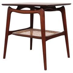 WéBé 'Ella' Teak Side or Coffee Table with Rattan Magazine Shelf
