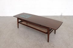 "Webe ""Table No. 9"" Mid-Century Tile and Teak Coffee Table with Magazine Shelf"