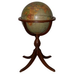 Weber Costello Co. Political Reality Globe on Mahogany Pedestal Stand circa 1940