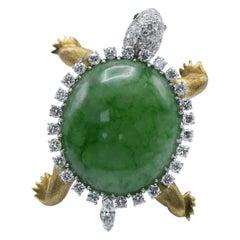 Wedderien, Large Jadeite Jade, Diamond and 18 Karat Turtle Brooch