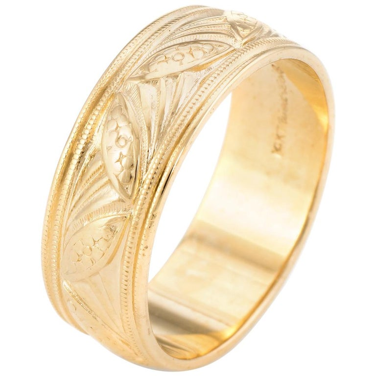 Wedding Band Ring Vintage 14 Karat Yellow Gold Estate Fine Bridal Jewelry For Sale