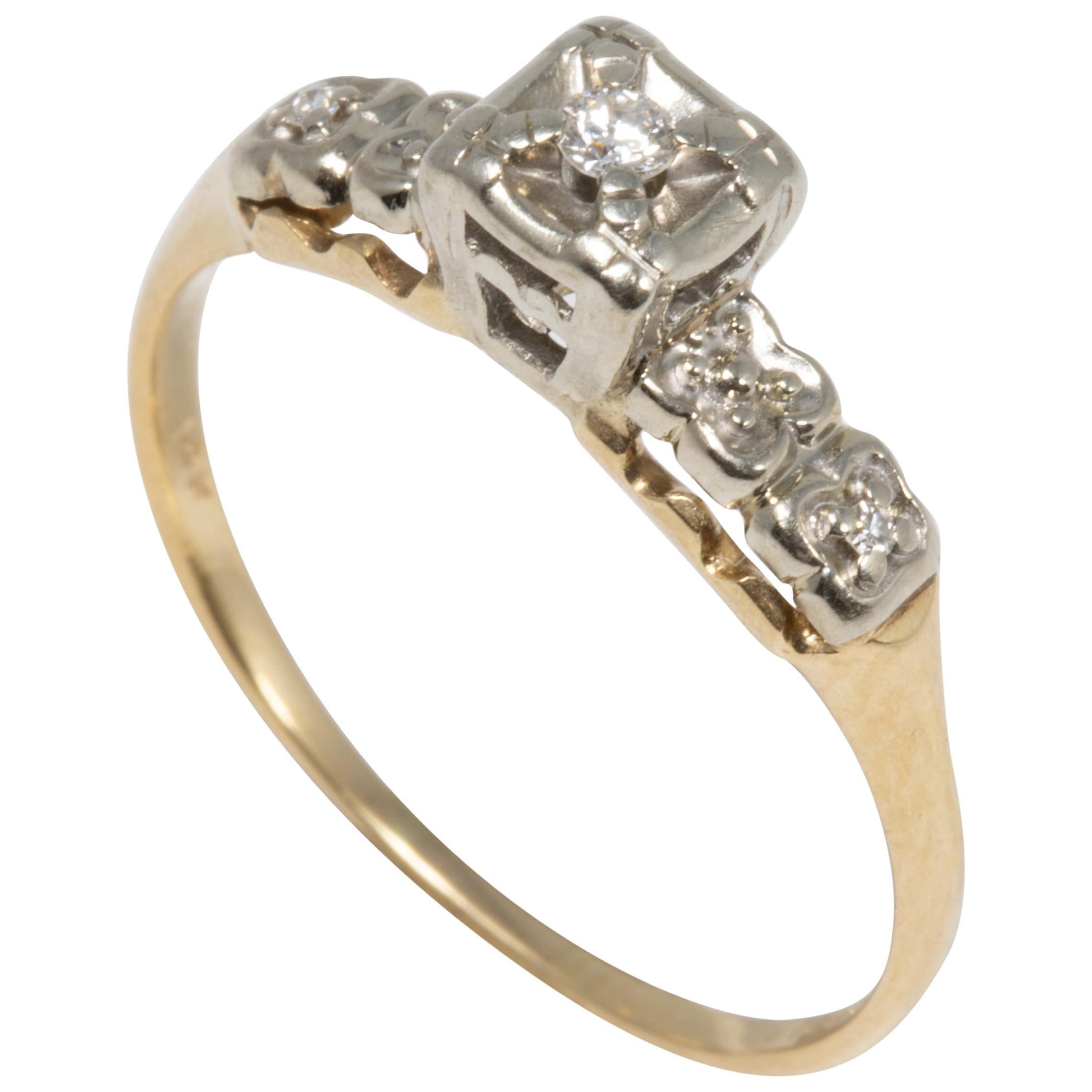 Jewelry & Watches 14k Yellow Hallmarked Gold 0.23ct Certified Diamond Cluster Ring Jewelry Fine Jewelry