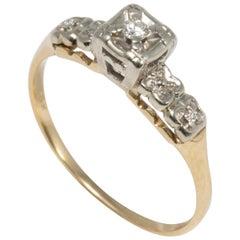 Wedding Bells Diamond 14 Karat Gold Ring, Band, Elevated Setting, .05 Carat